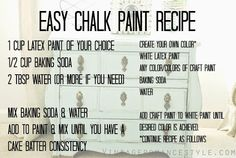 DIY Easy Shabby Chalk Paint Recipe & side table makeover - Diy Home Decoration Chalkboard Paint Recipes, Diy Chalk Paint Recipe, Make Chalk Paint, Homemade Chalk Paint, Chalk Paint Furniture, Craft Paint, Furniture Design, Chalk Paint Cabinets, Chalky Paint