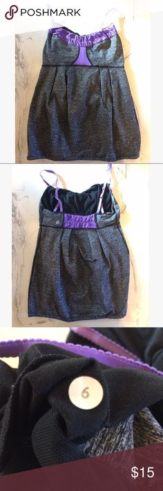 Lululemon Purple Gray Heathered Tank 6 Cute! Drawstring detail! Check out my other listings for lots of Lululemon & other designer brands! lululemon athletica Tops Tank Tops