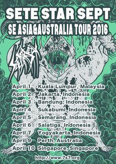 [Poster] SETE STAR SEPT SE ASIA&AUSTRALIA tour 2016 April 1 - Kuala Lumpur,Malaysia April 2 - Jakarta,Indonesia  April 3 - Bandung,Indonesia Apirl 4 - Sukabumi,Indonesia April 5 - Semarang,Indonesia April 6 - Salatiga,Indonesia April 7 - Yogyakarta,Indonesia  April 9 - Perth,Australia April 10 - Singapore,Singapore http://blog.7s7.org/post/135184963248/poster-sete-star-sept-se-asiaaustralia-tour