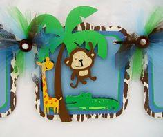 Jungle animals baby shower banner