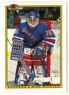 Mike Richter RC # 218 - 1990-91 Bowman Hockey NHL Rookie
