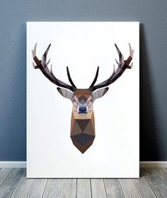 Quirky gifts Wildlife print Animal art Deer by animalgeometry