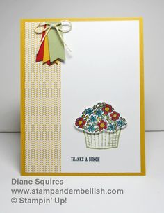 With the Sprinkles of Life stamp set by Stampin' Up! you can make baskets of flower, cupcakes, ice cream cones, trees, and clouds.  And $3 of the purchase is donated to the Ronald MacDonald House Charities.  Make you feel good!- http://stampandembellish.com/2015/06/sprinkles-of-life/