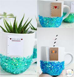 Personalize a mug with Martha Stewart Crafts Stickers, Glitter, and Decoupage for a perfect Valentine's Day gift! #marthastewartcrafts #12monthsofmartha