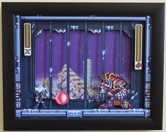 "Mega Man X3 (SNES) - ""Blizzard Buffalo"" 3D Framed Shadow Box"