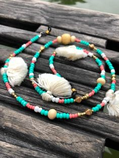 Handmade beaded sunglass strap// shade strap // sunglasses chain// lakegirl// tassels and beads Coral And Gold, Coral Turquoise, Beaded Jewelry, Beaded Necklace, Eyeglasses, Piercing, Boat Girl, Chain, Handmade