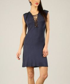 This Navy String-Tie Cap-Sleeve Dress by 100% Parisienne Chic is perfect! #zulilyfinds