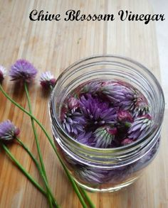 How to make Chive Blossom Vinegar - easy, frugal - and oh so pretty! #recipe
