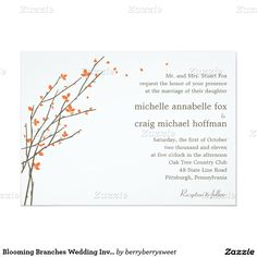 Blooming Branches Wedding Invitation - Orange