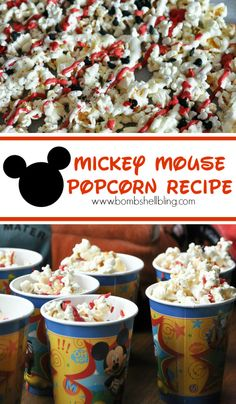 Mickey Mouse popcorn recipe - PERFECT for a Disney Party.