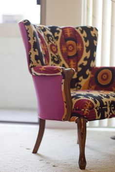 Channel Back Chair in Suzani Sun - see channel back. Also love contrasting fabric on chair and back.
