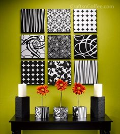 """""""Canvas Wall Grouping"""" with scrapbook paper! Love not only the wall art, but the matching flower and candle holders as well."""