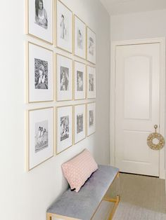 Gold Frame Wall, Frame Wall Collage, Frames On Wall, Gold Frames, Gold Photo Frames, Stairway Gallery Wall, Gallery Wall Frames, Photo Gallery Walls, Picture Walls