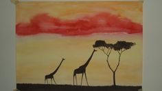 africa wild painting in water colour