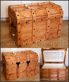 give a cooler a makeover so it looks like a trunk instead. - This would have been awesome for buckskin camping!