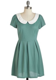 Record Time Dress in Sage. As your new record starts to spin, so does the pleated A-line skirt of this sage green dress. #green #modcloth