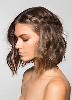 Summer Hairstyles : Long bob styling inspiration: waves and braid. Boho Wedding Hair, Short Wedding Hair, Wedding Hair And Makeup, Bridesmaid Hair Short Bob, Boho Bridesmaid Hair, Wedding Nails, Prom For Short Hair, Bride With Short Hair, Trendy Wedding