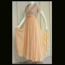 Stunning 1960s Peach Nectarine Silk Chiffon Evening Gown Rhinestones Beads Faux Pearls