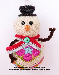 Ravelry: Twig the Snowman African Flower Crochet Pattern pattern by Heidi Bears