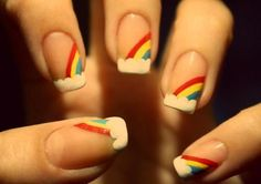 This rainbow nail art design is great for any young person, who want to add extra detail to their manicure. Get Nails, Love Nails, How To Do Nails, Pretty Nails, Hair And Nails, Nail Art Diy, Cool Nail Art, Diy Art, Nail Art Vernis