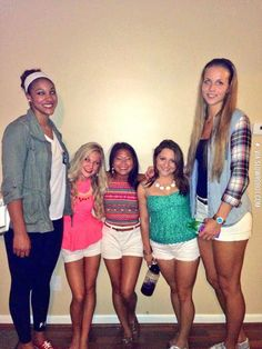 Basketball players and cheerleaders. Sometimes I worry that I'm ridiculously tall...