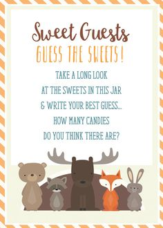 Woodland Baby Shower candy guessing game by WeeBabyShower on Etsy