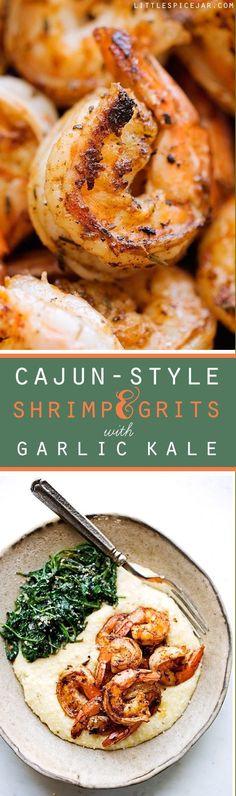 Cajun Shrimp and Grits - warm comfort food that's been lightened up! Perfect for Sunday brunching. #brunch #shrimpandgrits #cajunshrimp   Littlespicejar.com