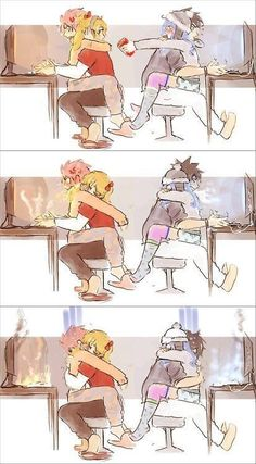 Fairy Tail - Gray, Natsu, Juvia and Lucy - Anime Natsu Fairy Tail, Fairy Tail Ships, Fairy Tail Anime, Fairy Tail Movie, Fairy Tail Comics, Fairy Tail Gray, Fairy Tail Funny, Fairy Tail Family, Fairy Tail Couples