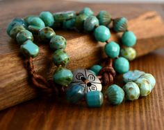 Turquoise beaded beach bracelet. Knotted wrap by SinonaDesign, €32.00