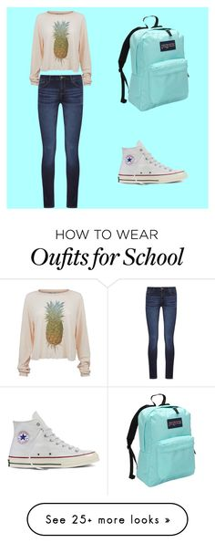 """""""Back to School"""" by erinmaries on Polyvore featuring Wildfox, DL1961 Premium Denim, Converse and JanSport"""