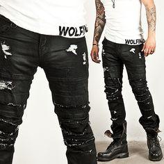 Distressed vintage coated black slim biker jeans - 157