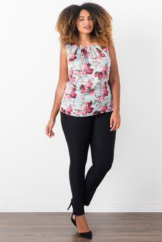 Suzy Shier Floral Sleeveless Blouse