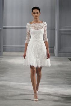 Vignette, Wedding Dress, Spring Summer 2014, Monique Lhuillier Silk white chantilly lace beteau neck 3/4 sleeve draped dress with appliqué re-embroidered lace