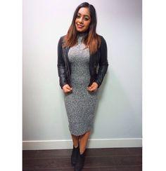 Grey turtleneck midi dress paired with leather jacket