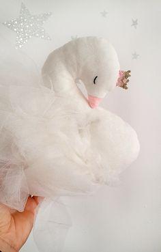 Swan soft nursery decor pillow newborn baby girl birthday