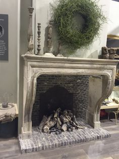 I'm sad this isn't a real fireplace. I love how open the box is & the mantle's shape especially. House Interior, Inspiration, Diy Holiday Decor, Farmhouse Fireplace, French Fireplace, Fireplace, Living Room With Fireplace, Fireplace Bookshelves, Fireplace Mantle