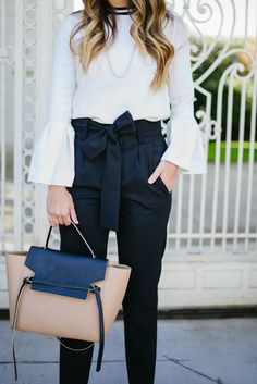 Mother of Pearl Top, Maje Pants with a bow, and Celine Bag Viernes Casual, Cosy Outfit, Zara, Gal Meets Glam, Work Wardrobe, Mode Inspiration, Work Attire, Work Fashion, Formal