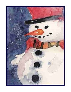 Christmas Watercolor Winter Snowman Set of 8 by watercolorwork, $9.00