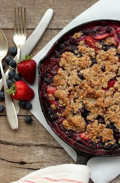 Grain-free Strawberry & Blueberry Crumble - Dish by Dish