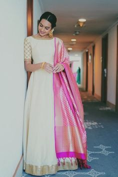 Off white Long dress with dupatta Indian Long Dress, Indian Gowns Dresses, Dress Indian Style, Party Wear Indian Dresses, Pakistani Dresses, Dress Party, Diwali Outfits, Diwali Dresses, Long Gown Dress