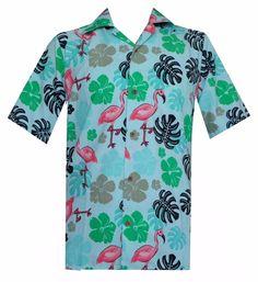4135759719f Hawaiian Shirts Mens Flamingo Leaf Print Beach Aloha Party Green