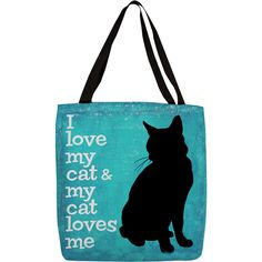 Thumbprintz 'I Love My Cat' Printed Tote ($27) ❤ liked on Polyvore featuring bags, handbags, tote bags, cats, multi, pattern tote bag, cat tote bag, cat purse, print handbags and blue purse