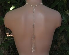 Bridal Lariat - Swarovski Crystals and Pearls with Rondelles with Sterling Silver Chain with Backdrops - Handmade Wedding Jewelry - pinned by pin4etsy.com