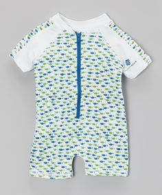 Take a look at this Envya Swimwear Green & Blue Fish One-Piece Rashguard - Infant & Toddler on zulily today!