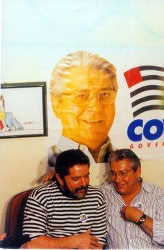 Antigo adversário, Lula anuncia apoio do PT a Mario Covas no segundo turno da eleição para governador em São Paulo, disputado - e vencido - contra Francisco Rossi (PDT). Agliberto Lima/AE