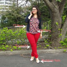 red pants with navy