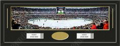 One framed large Anaheim Ducks stadium panoramic with openings for one or two ticket stubs* and one or two 4 x 6 inch personal photos**, double matted in team colors to 39 x 13.5 in.  The lines show the bottom mat color.  $179.99  @ ArtandMore.com