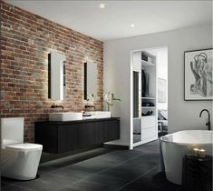 21 Ideas for apartment bedroom design inspiration window New Kitchen Interior, Brick Interior, Interior Exterior, Red Brick Tiles, Brick Tiles Bathroom, Bathroom Wall, Tub Tile, Room Tiles, Brick Walls