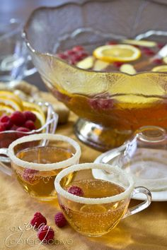 Champagne Punch with Raspberry and Orange Liqueur.