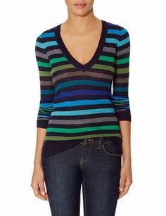 Striped Merino V-Neck Sweater from THELIMITED.com #TheLimited #TheSweaterShop